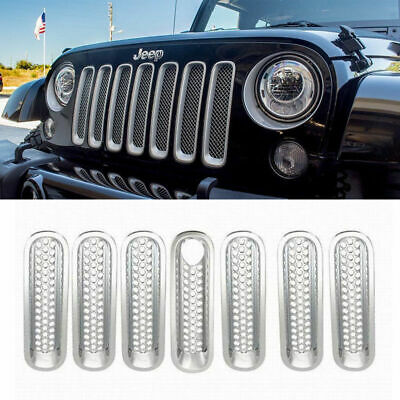 Front Mesh Insert Grille Grill Cover Trim For Jeep Wrangler JK 07-17 16 Silver N