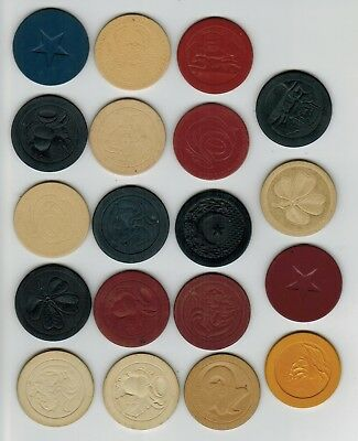(19) Different Engraved Embossed Vintage Antique Clay Poker Chip Lot