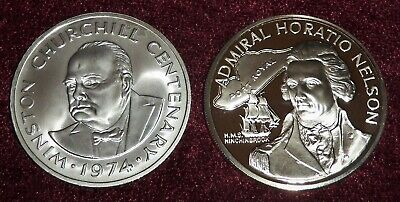 2 STERLING SILVER CROWNS 1974 CHURCHILL 20 Cr & 1976 ADMIRAL NELSON $10 FREE S/H