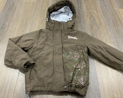 Girls Size 10 Brown ROXY Snow / Ski / Rain Coat / Hooded Jacket  *Great Con*