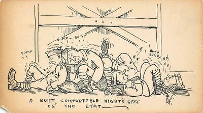 """Night's Rest On the Etat"" Soldiers Military WWI Comic c1910s Vintage Postcard"