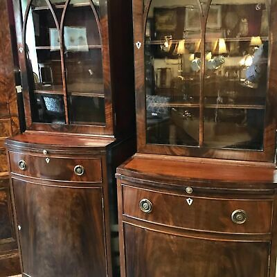 Pair Edwardian Mahogany Bow Front Bookcases