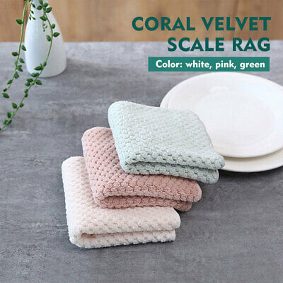 1313 2pcs Kitchen Cleaning Cloth Washing Cloth Coral Fleece Cleaning Tool