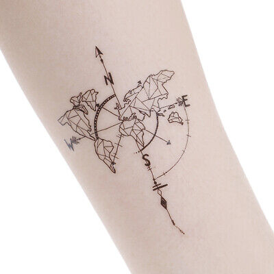 Waterproof Temporary Fake Tattoo Stickers Vintage Map Coordinates South North.