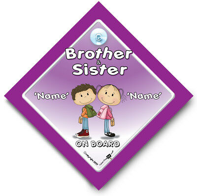BROTHER AND SISTER On Board Car Sign, PERSONALISED Baby On Board Sign