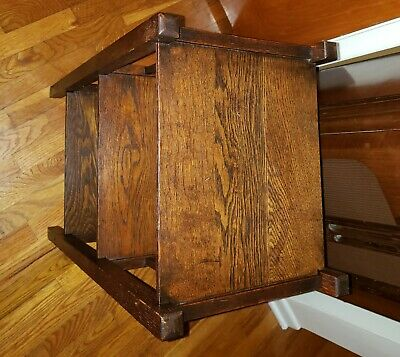 Vintage Three Tier Oak Shelf/Table with Three Side Slats