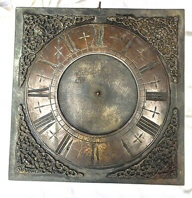 "Early Antique Single Finger Brass Longcase Grandfather Clock 10"" Dial & Movement"