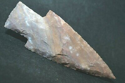 "Spear Tip 4.3"" Flint Spearhead Stone Point Knife Blade Arrowhead Project B6854"