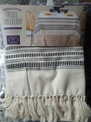 Premium Cotton Tassel Tablecloth Cream 132 x 230cm 6-8 Seat Table approx New