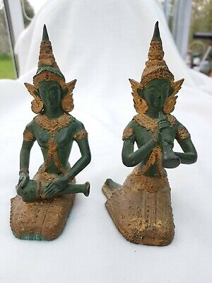 Pair of Antique South-East Asian Bronze and Gilt Deity Figures - Heavy!