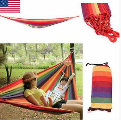 Hanging Hammock Swing Fabric Bed Portable Camping Hiking Sleep Bed Outdoor Rope