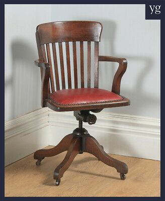 Antique English Edwardian Oak & Red Leather Revolving Office Desk Arm Chair