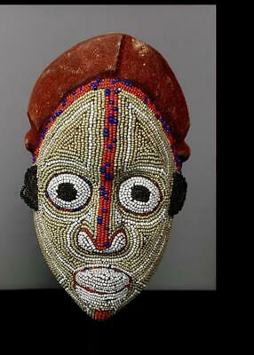 Old  Tribal Bamileke Beaded  Mask   -  Cameroon BN 11