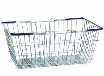 Displaysense Wire Shopping Baskets Blue Handles 25L, (Set of 16)
