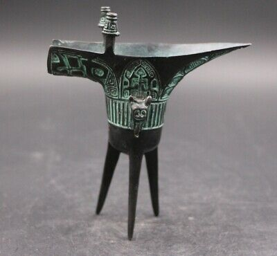 Chinese Antique Old Bronze Ware Dynasty High Legs Wine Pot Cup wineglass