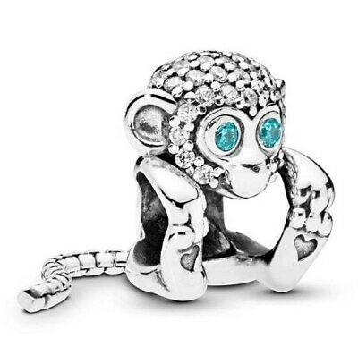 Sterling Silver Bead Charm A Long Snake-chain Tail Sparkling Monkey With Crystal