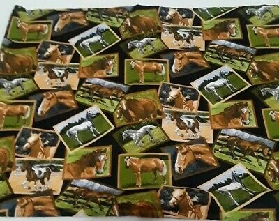 Fabric By David Textiles 100% Cotton Framed Horses Fabric By The Yard Quilting