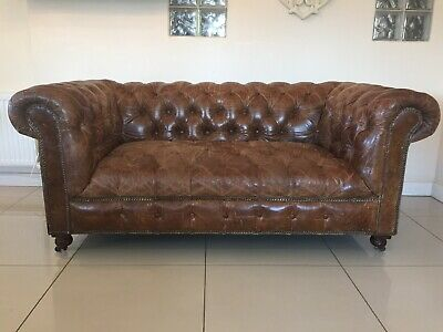Stunning & Rare Halo Chesterfield 2 Seater Vintage Antique Brown Leather Sofa