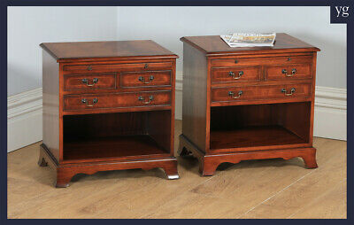 Pair of English Georgian Regency Style Flame Mahogany Inlaid Bedside Lamp Tables