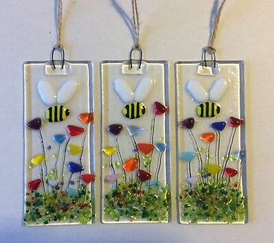 Fused Glass Bumble Bee Flower Garden Sun Light Catcher Gift  Decoration