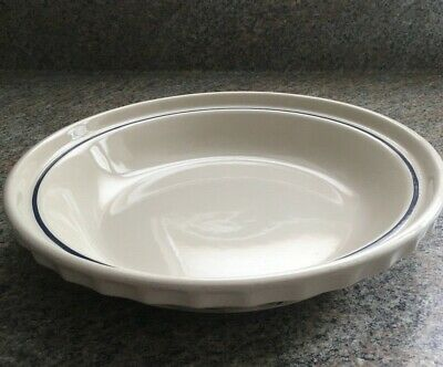 """Longaberger Pottery Pie Plate Woven Tradition Ivory Trimmed In Blue 10"""""""