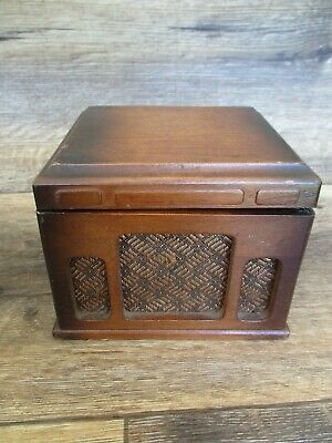 VINTAGE Wood Cigarette Dispenser Wooden Box Mid Century Pop up W/ASHTRAY  RARE