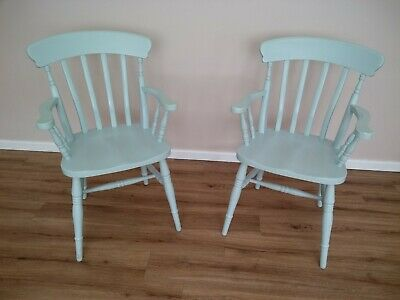 PAIR solid dining/carver chairs painted Laura Ashley Duck Egg (+ spare paint)