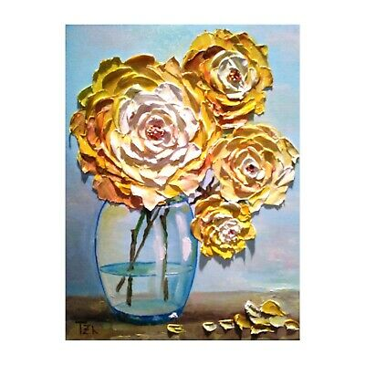 Pink Peonies in a Glass Bowl Original Oil Textured Painting