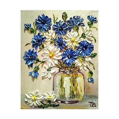 Daisies and Cornflowers in a Glass Bowl Originall Oil Textured Painting