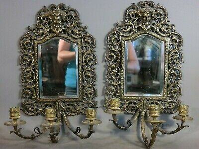 Pair (2) Antique BRASS Figural DIONYSUS Old GOD of WINE Bust STATUE WALL SCONCE