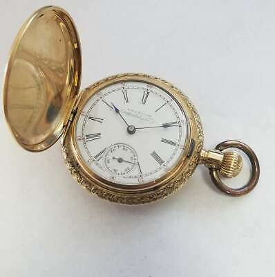 e2f878761d84a VINTAGE AMERICAN WALTHAM 14k Yellow Gold Pocket Watch 0s 11J Jewelry AW123