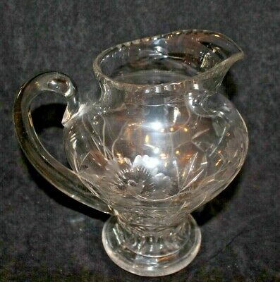 Antique American Brilliant Crystal Floral & Berries Cut Etched Glass Pitcher 9""