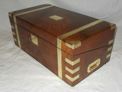 Large Antique Victorian Walnut & Brass Military Campaign Style Writing Slope Box