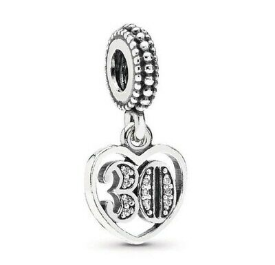 925 Sterling Silver 30 Years Of Love Dangle Charm Clear CZ Fit European Bracelet