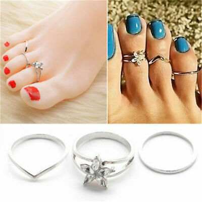 Foot Jewelry 3Pcs/set Celebrity Silver Women Crystal Daisy Finger Toe Ring Gift