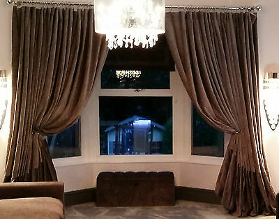 "Huge Bespoke Mink/Chocolate Chenille Velvet 54""W111""L Blackout Lined Curtains"