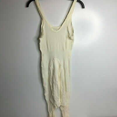Vintage womens one piece full body long johns lingerie open crotch white waffle