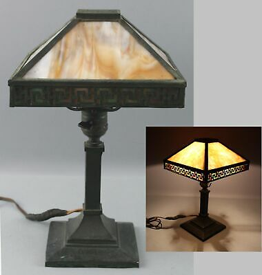 Small Antique Early 20thC Arts & Crafts 2-Color Slag Glass Desktop Lamp
