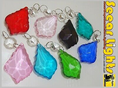 "Colour Chandelier Crystals Glass Drops 2"" Leaf Beads Droplets Lamp Light Parts"