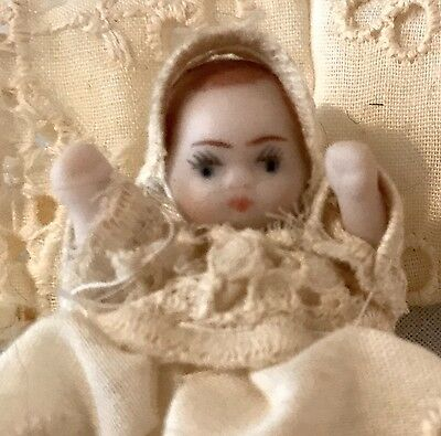 Antique Doll House Baby In Christening Robe, Wire Jointed For Movement, Vgc