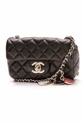 2a697e881f6 CUTE MINI CHANEL BAG Black Round Quilted Lambskin Clutch Bag on Gold ...