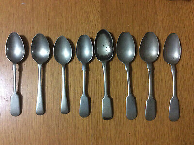 8 Antique Teaspoons Soup Spoons, Silver Plated Nickel Silver Vintage 1870s-1930s