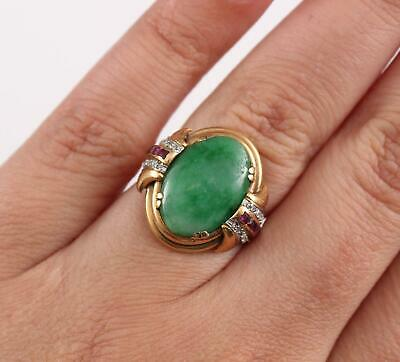 Antique Authentic 1920s Art Deco 18kt Yellow Gold, Jade, Ruby & Diamond Ring