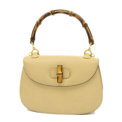 d8940e019 GUCCI Bamboo Top Handle Bag Leather Beige 000 2046 0188 Free Shipping