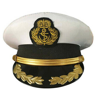 Military Army Hats Navy Officer Cap Adult Men White Wheat Sailor Cosplay Costume