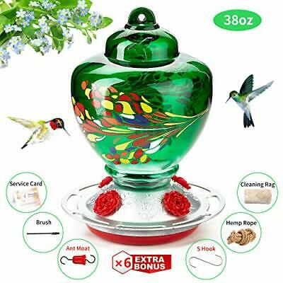 Hummingbird Feeder - Hand Blown Glass - Blue - 36 Fluid Ounces Nectar Capacity