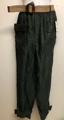 ed0b5f2c NWT ZARA BOTTLE GREEN FLOWING TROUSERS WITH BELT PLATED CUFFS Size M  2484/794
