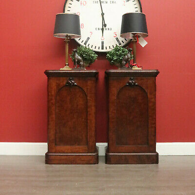 Pair of Antique Side Cabinets, Lamp Cupboards Bedsides, English, Plum Pudding