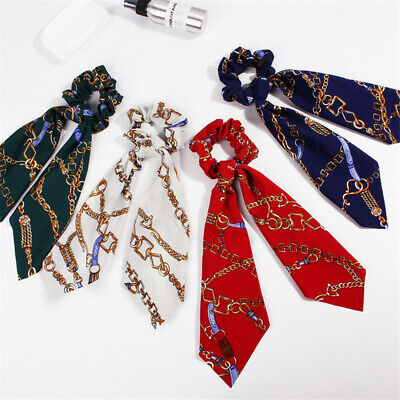 Boho Print Ponytail Scarf Bow Elastic Hair Rope Tie Scrunchies Ribbon Hair Bands