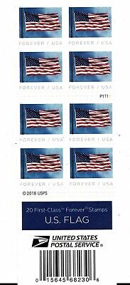 ONE BOOK OF 20 U.S. FLAG 2019 USPS FIRST CLASS FOREVER POSTAGE STAMPS / Damaged